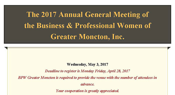 Business Women of Greater Moncton Dinner Meeting Ad